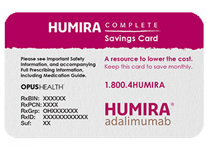HUMIRA savings card for eligible patients to receive monthly savings